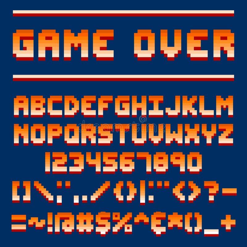Bokstäver för bit för design för dataspel för retro stilsort för PIXEL abc för för video 8 och elektronisk futuristisk stil och v royaltyfri illustrationer