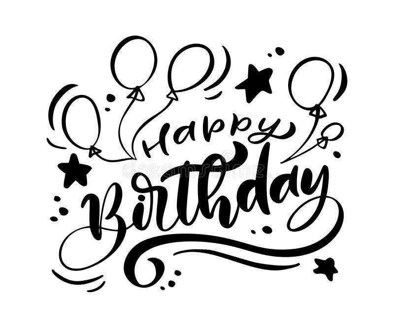 Bokstäver för borste för vektorillustration handskriven modern av text för lycklig födelsedag på vit bakgrund Hand dragen typogra vektor illustrationer