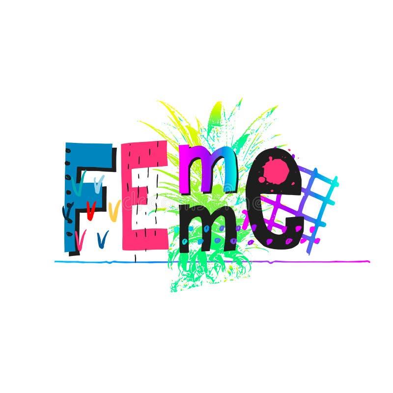 Bokstäver för citationstecken för skjorta för Femme maktkrona stock illustrationer