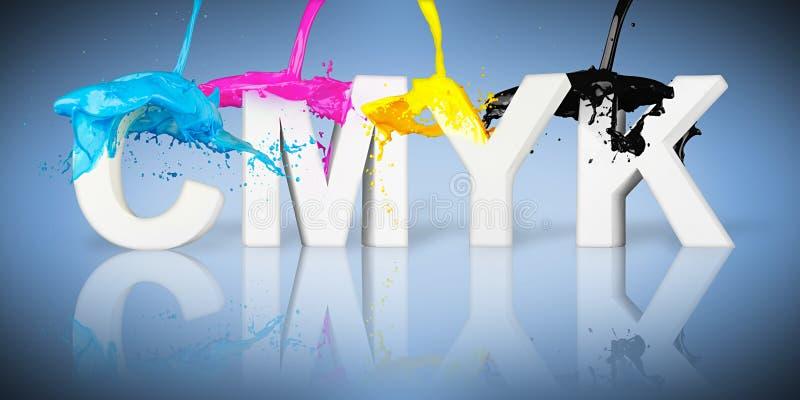 Bokstäver för CMYK-målarfärgfärgstänk stock illustrationer