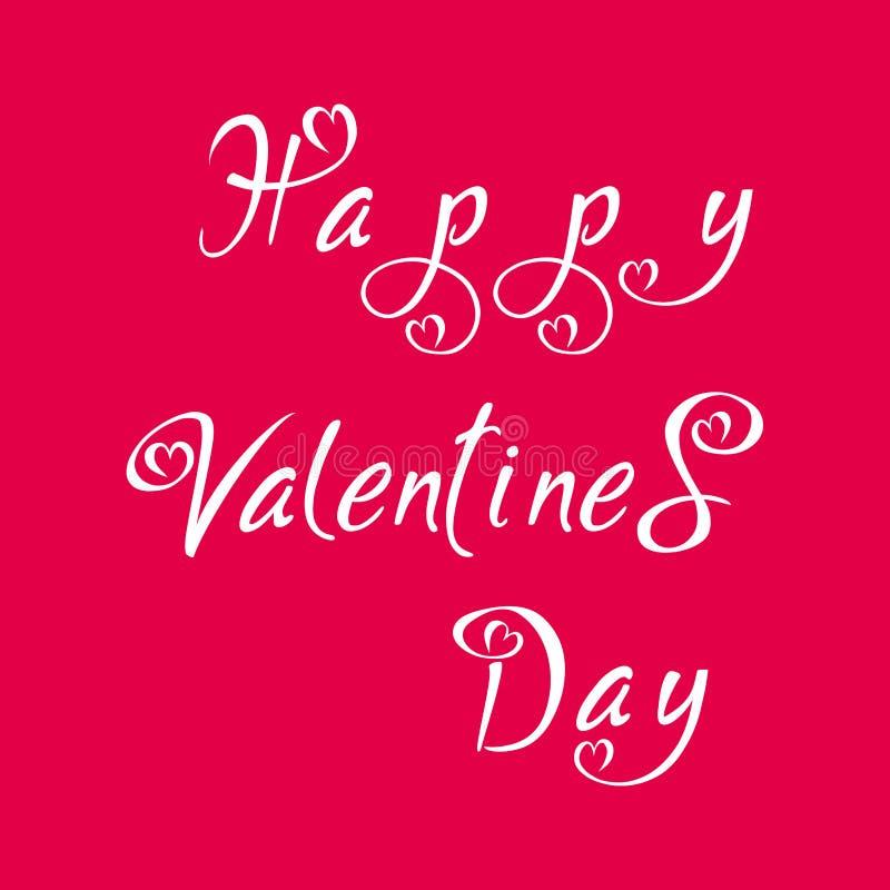 Bokstäver för dag för valentin` s För hälsningkort för hand skriftlig mall med hjärtor och röd lutningbakgrund för valentin dag vektor illustrationer