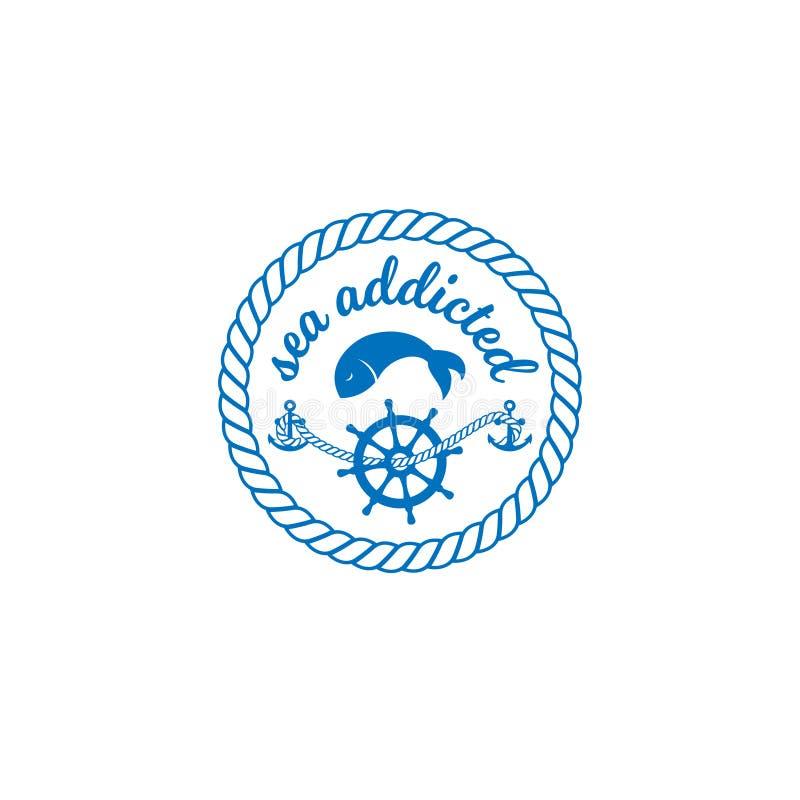 Bokstäver för design för havsemblemtryck royaltyfri illustrationer