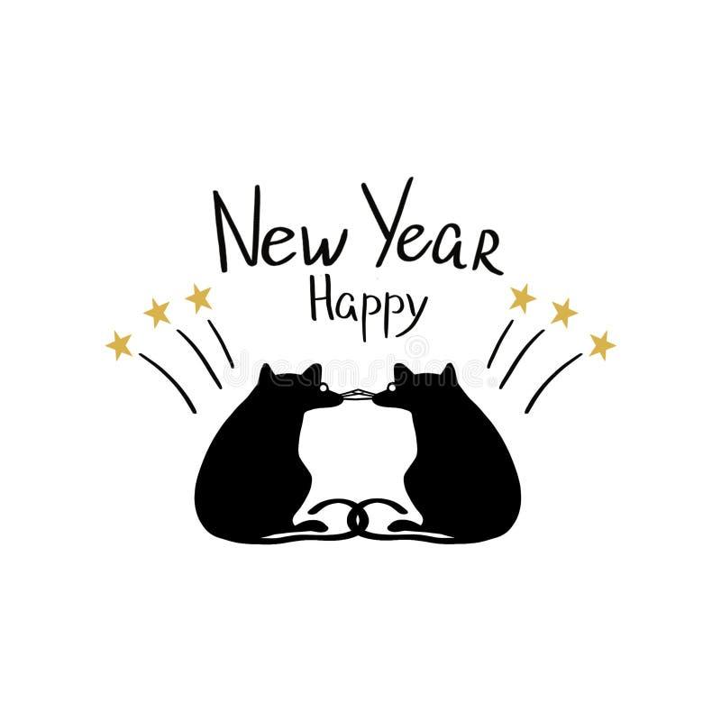 Bokstäver för det lyckliga nya året med fyrverkerier och konturn tjaller på vit bakgrund royaltyfri illustrationer