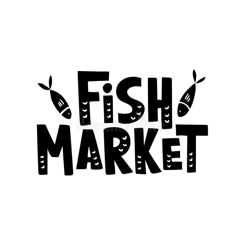 Bokstäver för fiskmarknad stock illustrationer