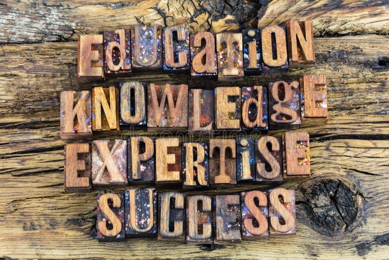 Bokstäver för framgång för utbildningskunskapssakkunskap arkivfoton