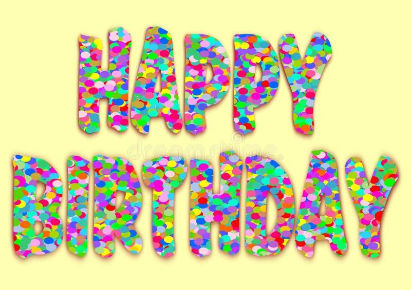 Bokstäver för lycklig födelsedag av konfettier på ljus - guling royaltyfri illustrationer