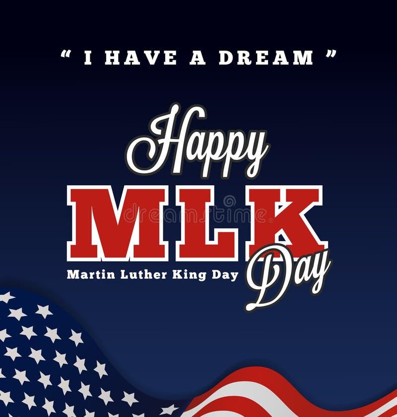 Bokstäver för Martin Luther King daghälsning med citationstecken stock illustrationer