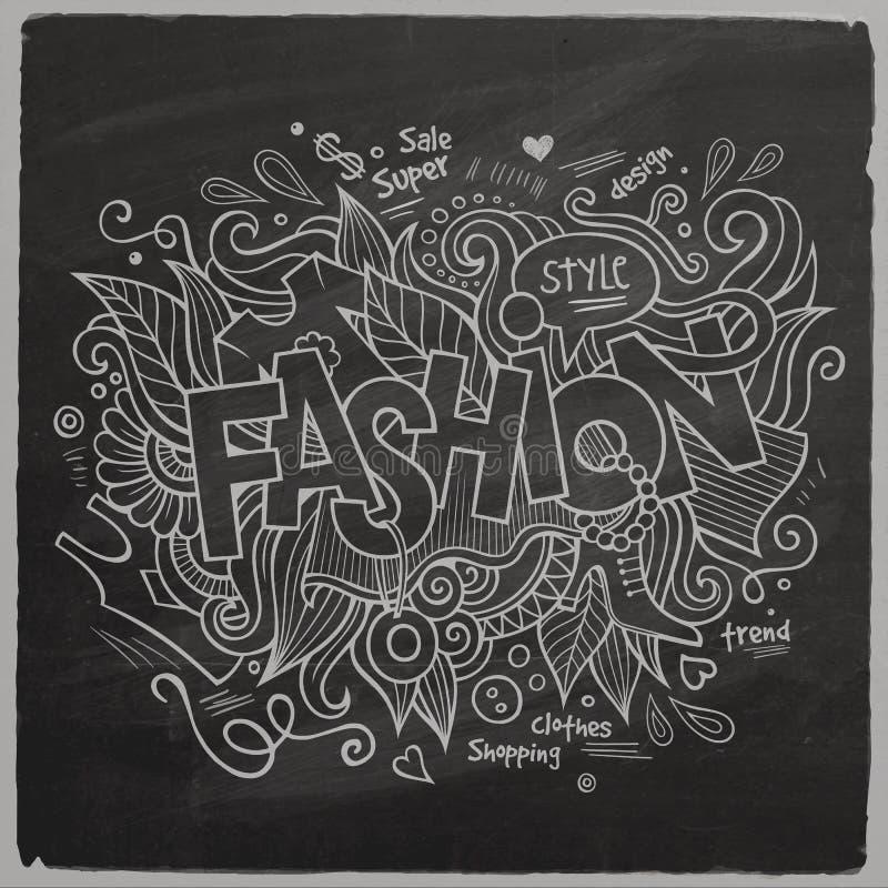Bokstäver för modevektorhand på den svart tavlan vektor illustrationer