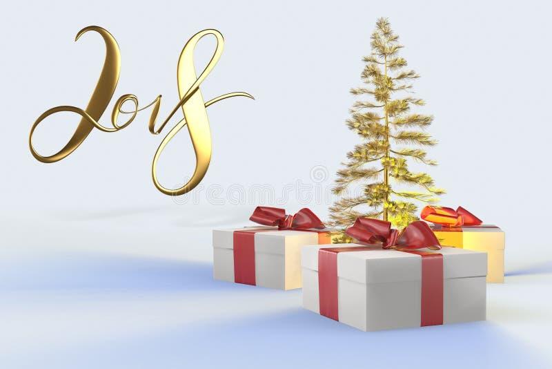 Bokstäver för nytt år för 2018 jul guld- med färgrika gåvaaskar med pilbågar av band och det guld- julträdet på viten tillbaka vektor illustrationer