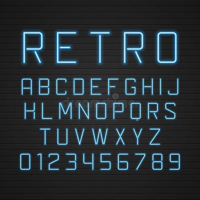 Bokstäver för skylt för vektordesign retro med ljus royaltyfri illustrationer