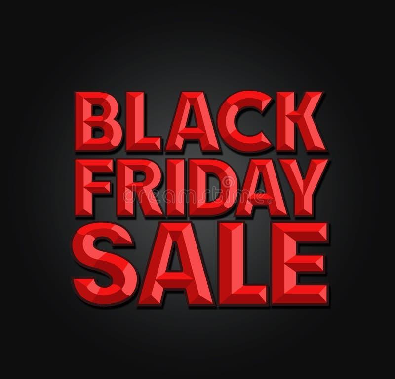 Bokstäver för stämjärn för Black Friday Sale tecken 3d stock illustrationer