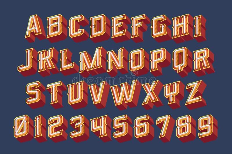 bokstäver för tappning 3D med neonljus vektor illustrationer