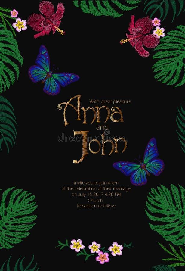 Bokstäver för tappning för kort för mall för datum för bröllopinbjudanräddning hand dragen Blom- tropisk exotisk fjäril Monstera stock illustrationer