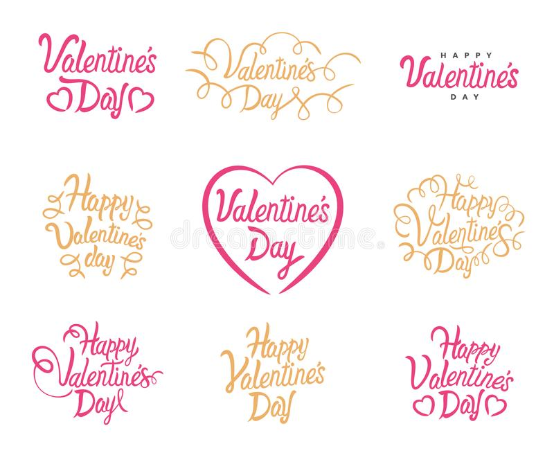 Bokstäver för Valentine Day vektortext Lycklig valentinuppsättning för vektor av Calligraphic citationstecken Bokstäver på vit ba royaltyfri illustrationer