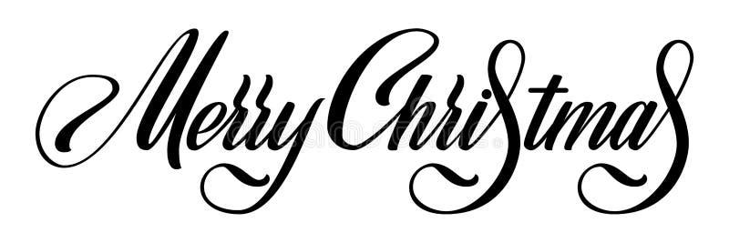 Bokstäver för vektor för glad jul Calligraphic Svart på vita hälsningar planlägger för kortmall Idérikt handskrivet royaltyfri illustrationer