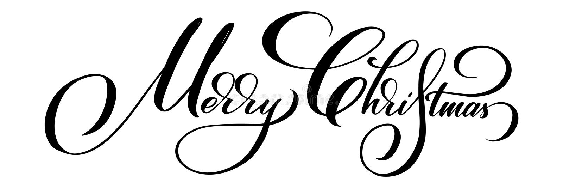 Bokstäver för vektor för glad jul Calligraphic Svart på vita hälsningar planlägger för kortmall Idérikt handskrivet stock illustrationer