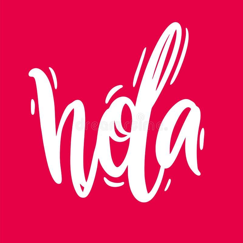 Bokstäver för vektor för Hola hand utdragen Modern borstekalligrafi Isolerat på rosa bakgrund stock illustrationer