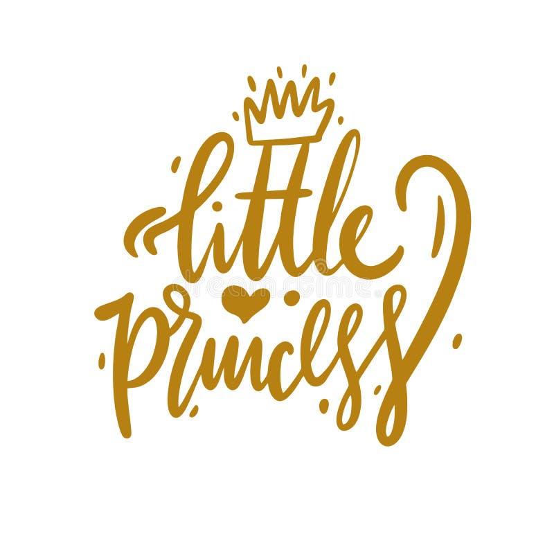 Bokstäver för vektor för liten prinsessahand utdragen Gullig handdrawn design stock illustrationer
