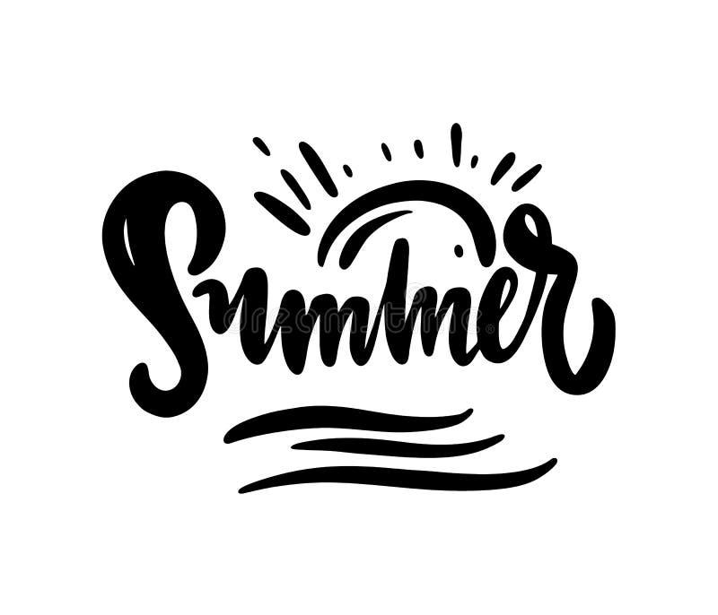 Bokstäver för vektor för sommarhand utdragen bakgrund isolerad white vektor illustrationer