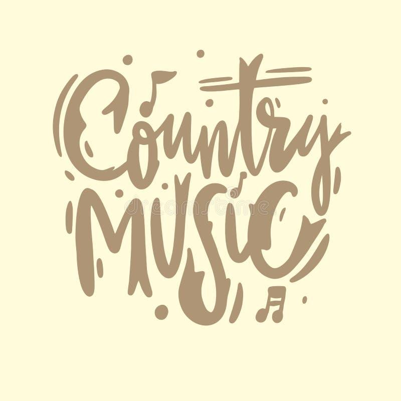 Bokstäver för vektorn för handen för countrymusikfestivalen sjunger utdragen Isolerat på gul bakgrund stock illustrationer