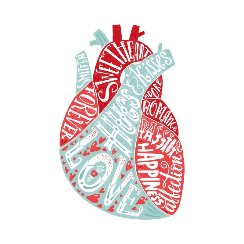 Bokstäver i hjärta stock illustrationer