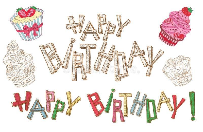 Bokstäver och kakor för lycklig födelsedag stock illustrationer