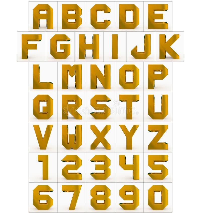 Bokstäver och kubikguld- för nummer som 3d isoleras på vit stock illustrationer