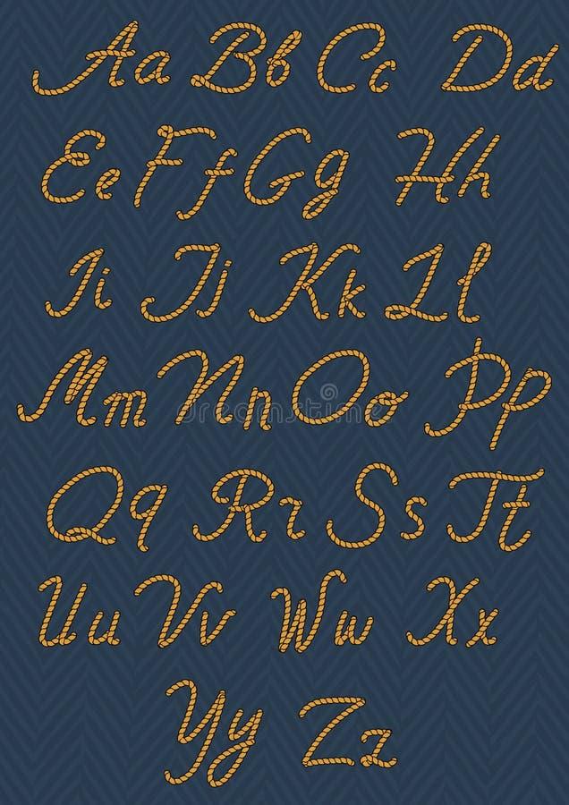 Bokstäver som göras från nautiskt rep alfabetteckningshand upp skrivna ord också vektor för coreldrawillustration stock illustrationer
