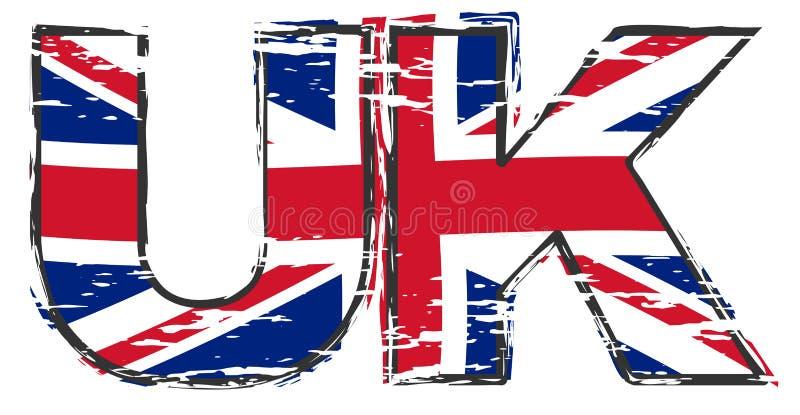 Bokstäver UK med den brittiska Union Jack flaggan under den, bekymrad grungeblick vektor illustrationer