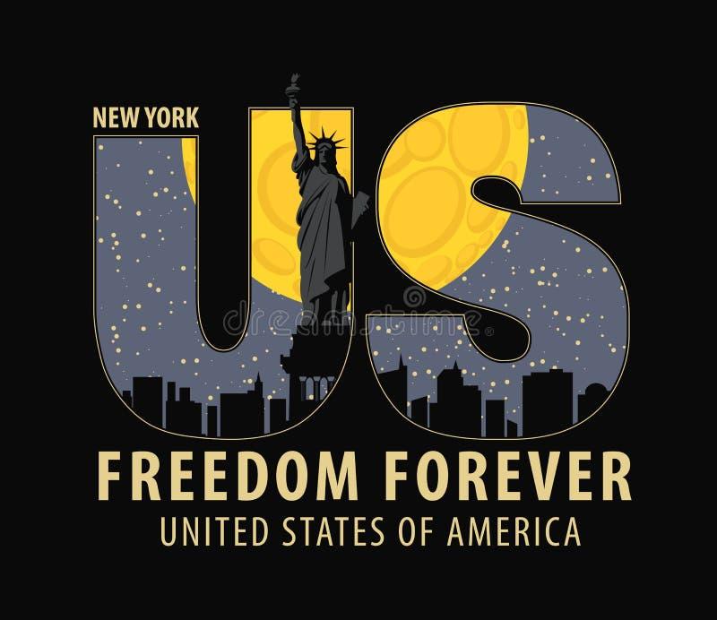 Bokstäver USA med bilden av statyn av frihet stock illustrationer