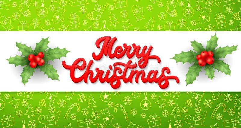 Bokstäverinskrift och järnek för Xmas 3d på grön julbakgrund med guld- beståndsdelslädar, träd, bollar, gåvor stock illustrationer