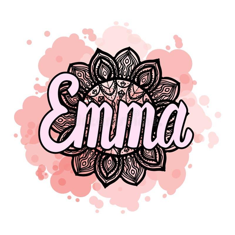 Bokstäverkvinnlignamn Emma på bohemisk hand dragen rammandalamodell och befläckt trendfärg också vektor för coreldrawillustration royaltyfri illustrationer