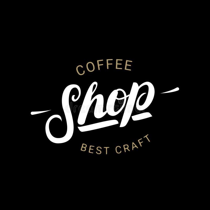 Bokstäverlogo, emblem eller etikett för coffee shop handskriven royaltyfri illustrationer