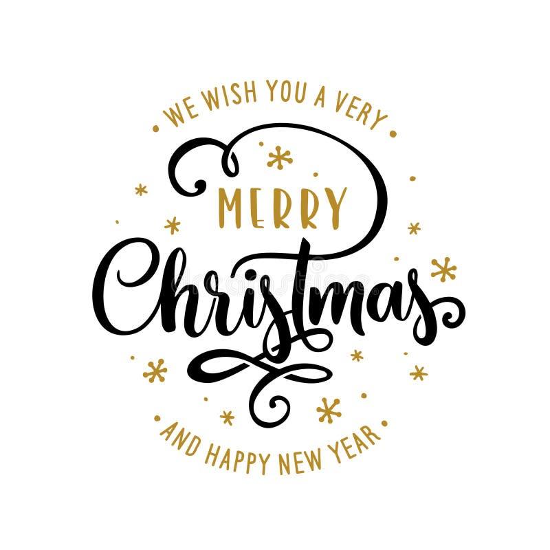 Bokstävermall för glad jul och för lyckligt nytt år Hälsningskort eller inbjudan Vektortappningillustration stock illustrationer
