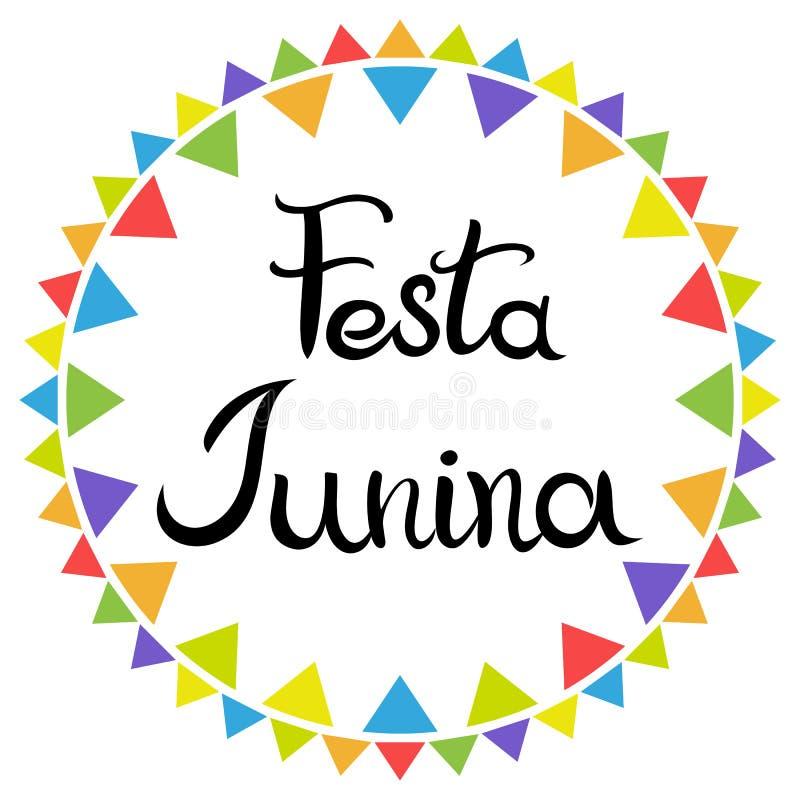 bokst?ver Festa Junina Latin - amerikansk ferie Utdragen inskrift f?r hand som isoleras p? den vita bakgrunden stock illustrationer