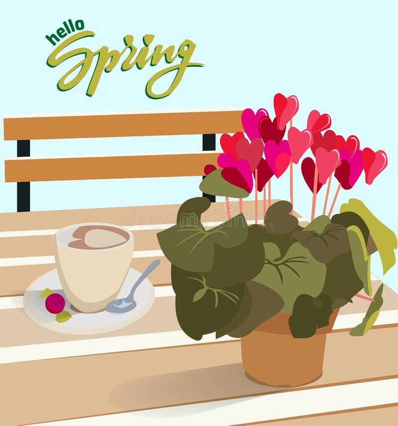 Bokst?ver Hello fj?drar En tabell i ett kafé med cyklamen för en blomma i en kruka och en kopp kaffe med godisen Vektorillustrati royaltyfri illustrationer