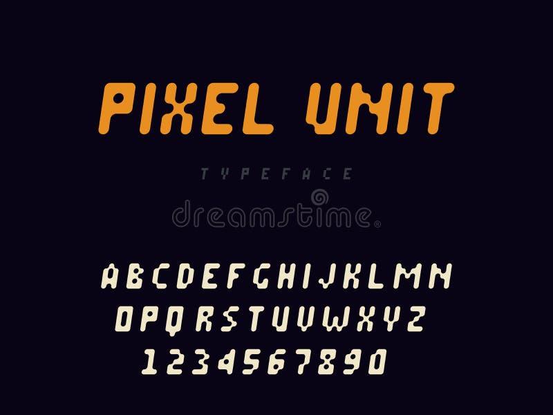 Bokst?ver och nummer f?r latinskt alfabet f?r PIXEL Rundad PIXELstilsort ocks? vektor f?r coreldrawillustration vektor illustrationer
