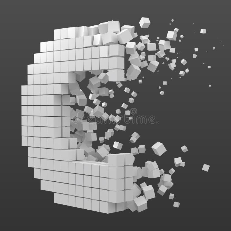 Bokstav C formade datakvarteret version med vita kuber f?r stilvektor f?r PIXEL 3d illustration royaltyfri illustrationer