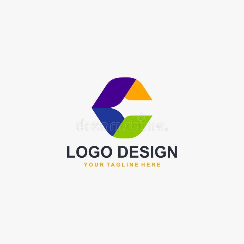 Bokstav C i vektor för polygonlogodesign Abstrakt formlogodesign Logodesign för full färg vektor illustrationer