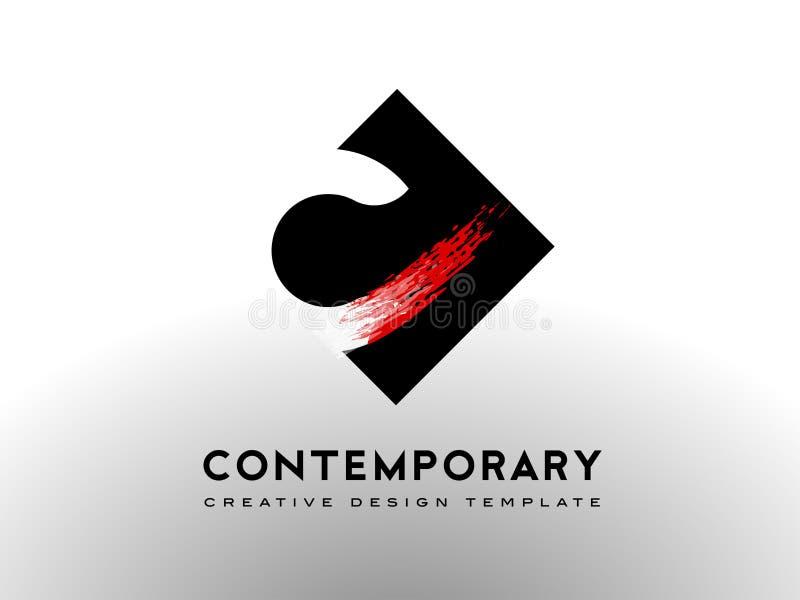 Bokstav C Logo Brush Art Gallery Concept stock illustrationer