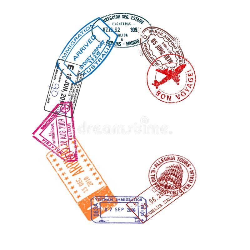 Bokstav C som göras av internationellt pass, stämplar på en vit bakgrund isolerat stock illustrationer