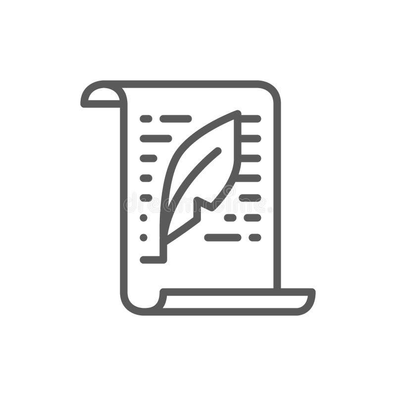 Bokstav dokument, text, copywriting linje symbol stock illustrationer