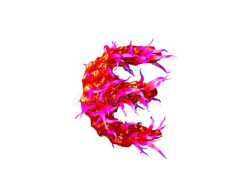 Bokstav E av den ruskiga främmande stilsorten - rött främmande kött med rosa tentakel som isoleras på vit bakgrund, illustration  vektor illustrationer