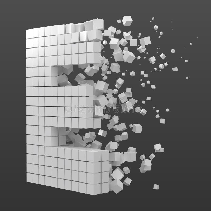Bokstav E formade datakvarteret version med vita kuber f?r stilvektor f?r PIXEL 3d illustration vektor illustrationer