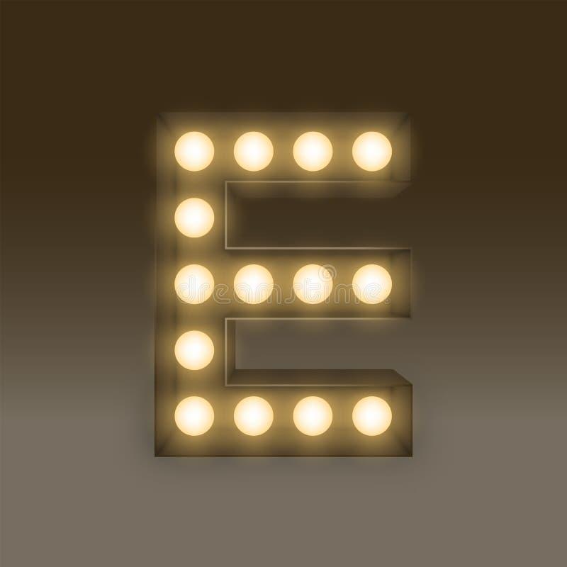 Bokstav E, illustration för uppsättning för ask för ljus kula för alfabet glödande stock illustrationer