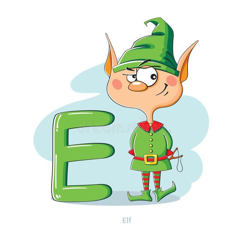 Bokstav E med den roliga älvan stock illustrationer