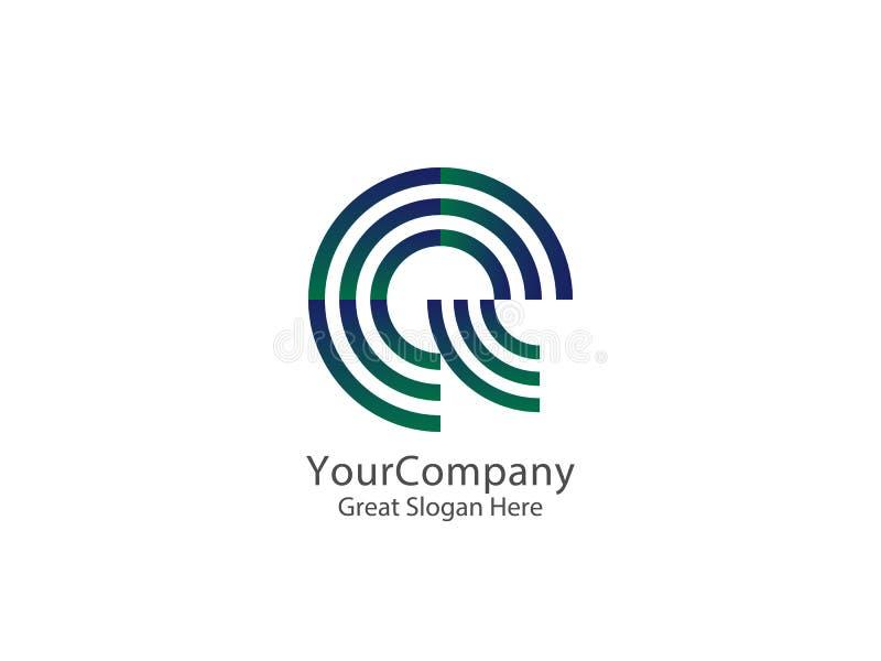 Bokstav E och Q Logo Icon cirkellinje logodesignbegrepp vektor illustrationer