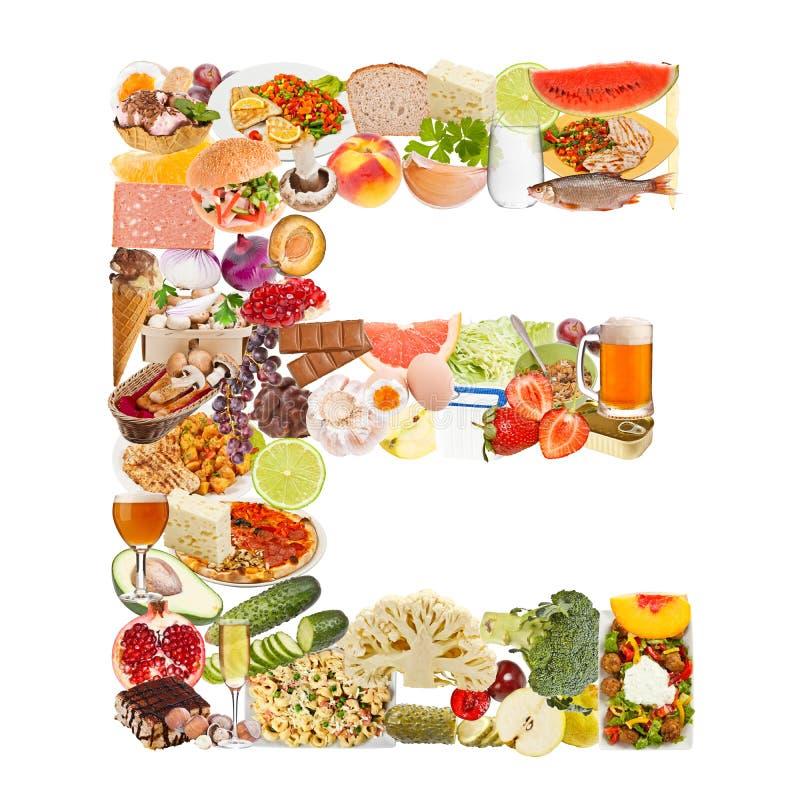 Bokstav E som göras av mat arkivbild