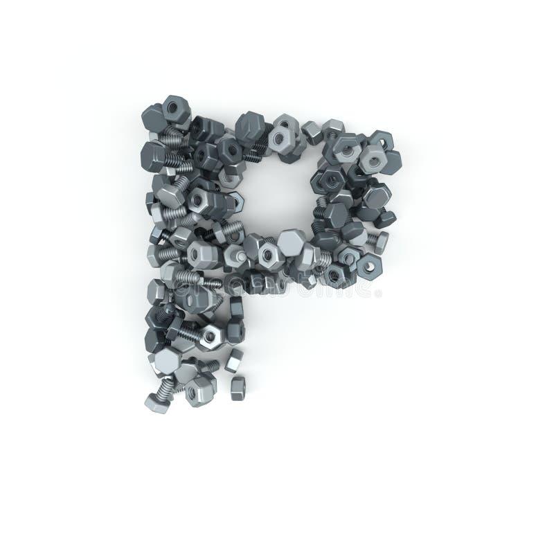 bokstav för alfabet 3D av muttrar - och - bultar royaltyfri illustrationer