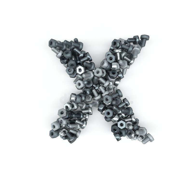 bokstav för alfabet 3D av muttrar - och - bultar stock illustrationer